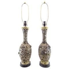 Pair of Rare Vintage Brass Brutalist Japanese Lamps