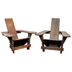 "Pair of Rare Vintage Harry Bunnell ""Westport"" Child's Adirondack Chairs"