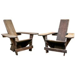 """Pair of Rare Vintage Harry Bunnell """"Westport"""" Mahogany Child's Outdoor Chairs"""
