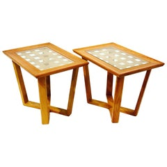 Pair of Rare Wood and Brass Mid-Century Modern End Tables