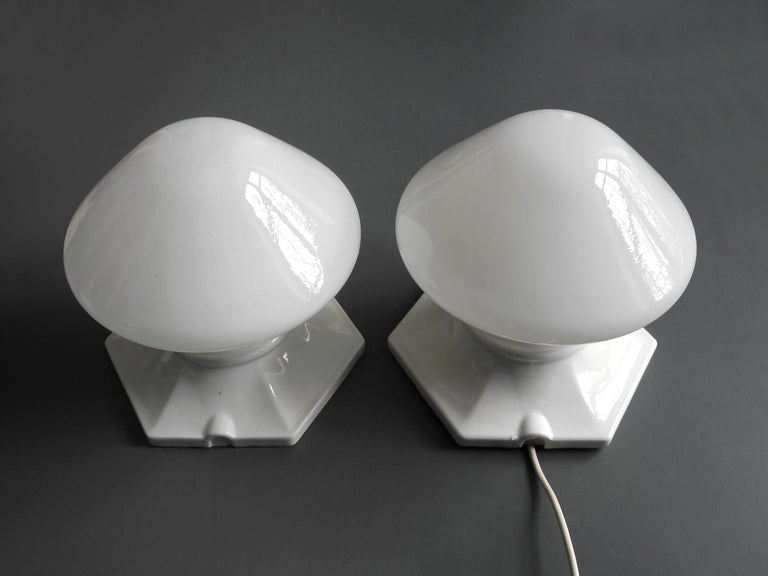 Pair of Rare Extra Large Mid-Century Modern Glass Ceramic Ceiling Lamps For Sale 5