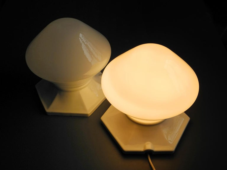 German Pair of Rare Extra Large Mid-Century Modern Glass Ceramic Ceiling Lamps For Sale