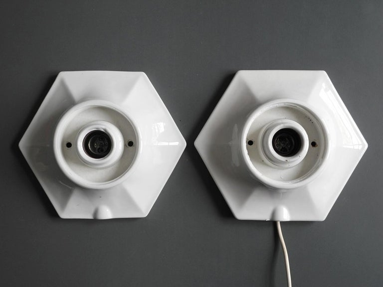 Pair of Rare Extra Large Mid-Century Modern Glass Ceramic Ceiling Lamps For Sale 2