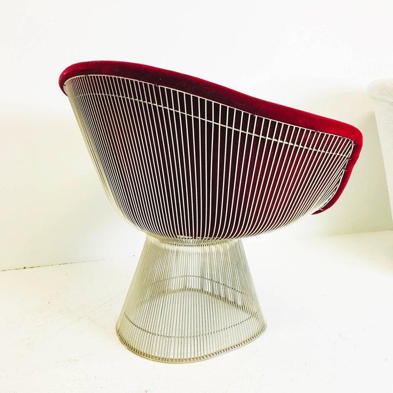 Pair Of Raspberry Velvet Warren Platner Lounge Chairs At