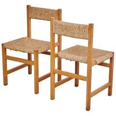 Pair of Rationalist Rattan Spanish Chairs, circa 1960