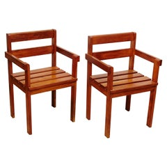 Pair of Rationalist Wood Armchairs in the Style of Gerrit Reitveld, circa 1950