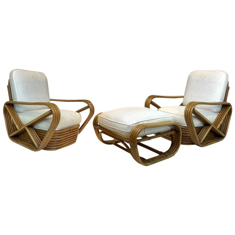 Pair of Rattan 1940s Paul Frankl Style Pretzel Chairs with Ottoman from Japan For Sale