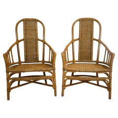 Pair of Rattan and Bentwood Armchairs