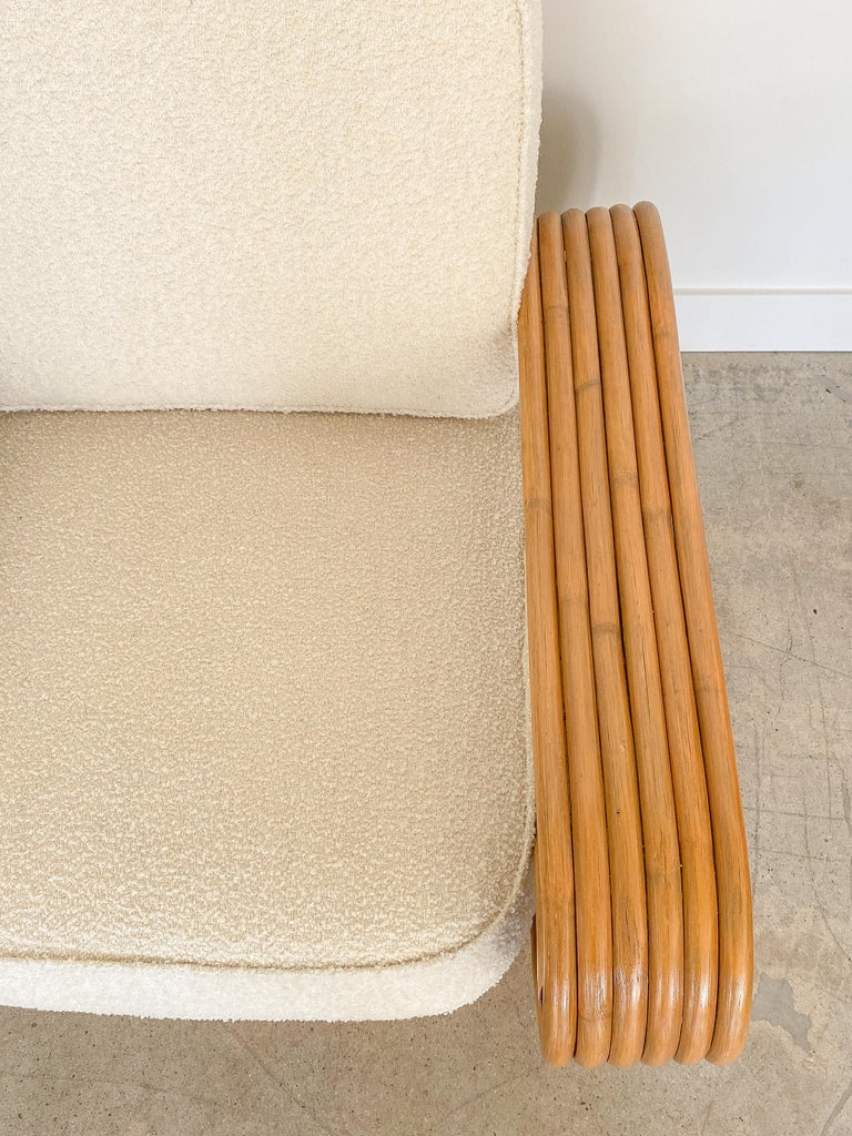 Pair of Rattan and Boucle Lounge Chairs in the Style of Paul Frankl 4