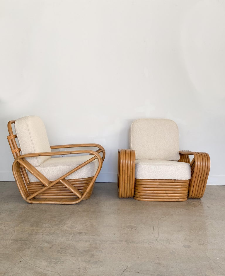 Pair of rattan lounge chairs in the style of Paul Frankl. Stacked rattan base and 6 strand arm with Classic design. Rattan has been restored and cushions newly upholstered in a creamy bouclé.