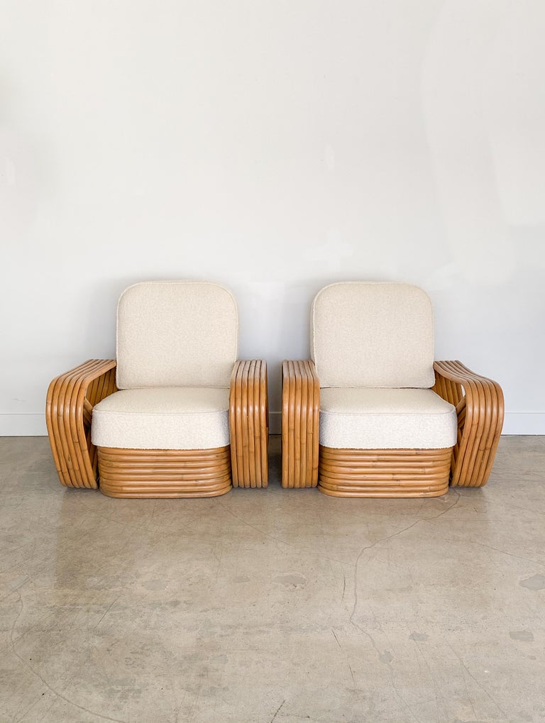 Mid-Century Modern Pair of Rattan and Boucle Lounge Chairs in the Style of Paul Frankl