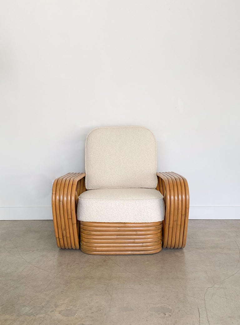 North American Pair of Rattan and Boucle Lounge Chairs in the Style of Paul Frankl