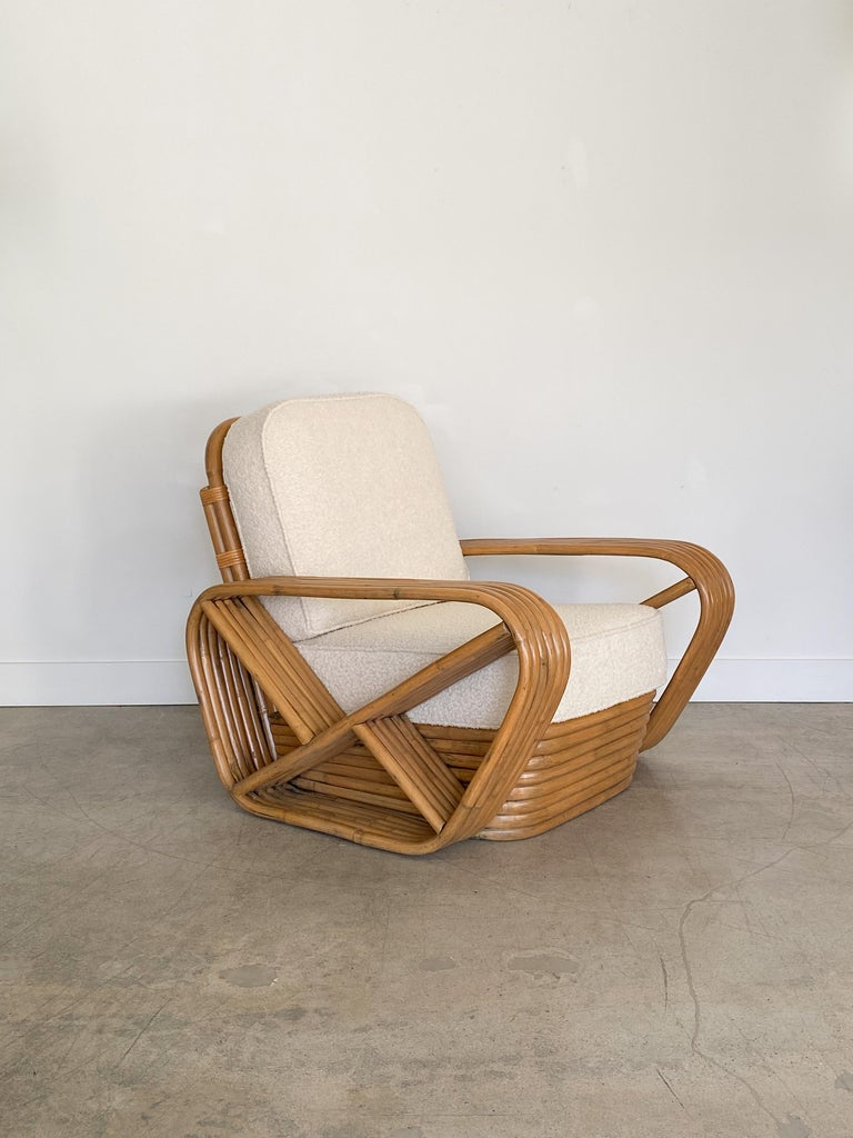 Pair of Rattan and Boucle Lounge Chairs in the Style of Paul Frankl In Good Condition In Los Angeles, CA