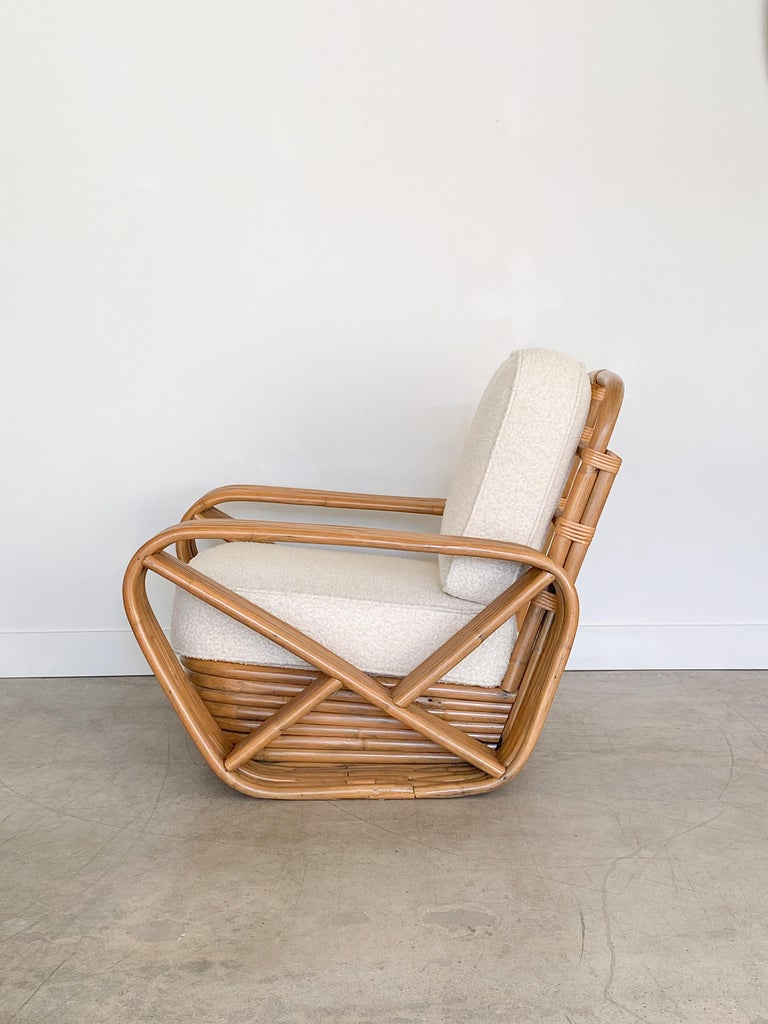 Pair of Rattan and Boucle Lounge Chairs in the Style of Paul Frankl 1