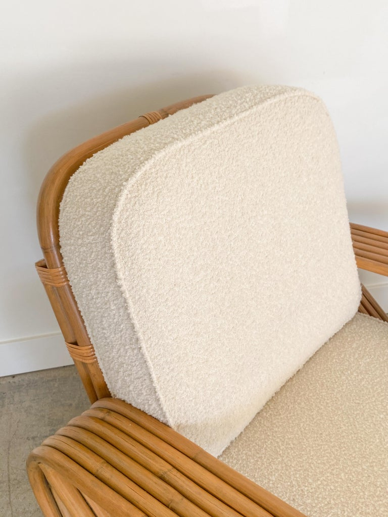 Pair of Rattan and Boucle Lounge Chairs in the Style of Paul Frankl 2