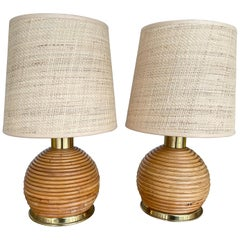 Pair of Rattan and Brass Lamps, Italy, 1970s
