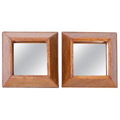 Pair of Rattan and Grasscloth Shadow Box Wall Mirrors