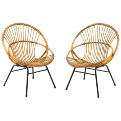Pair of Wicker and Metal Armchairs, Shell Shape, 1960s