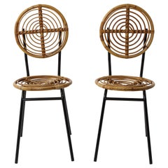 Pair of Rattan and Metal Disc Chairs, France, 1950s