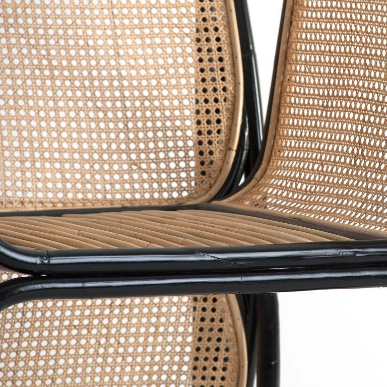 Mid-Century Modern Pair of Rattan and Wicker Design Armchairs Jan Bocan Style For Sale