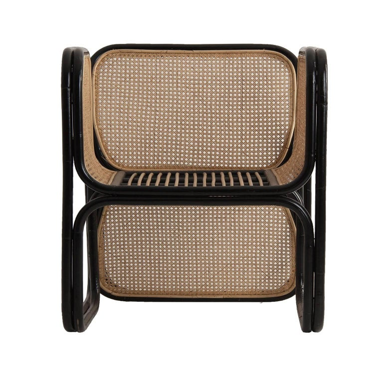 European Pair of Rattan and Wicker Design Armchairs Jan Bocan Style For Sale