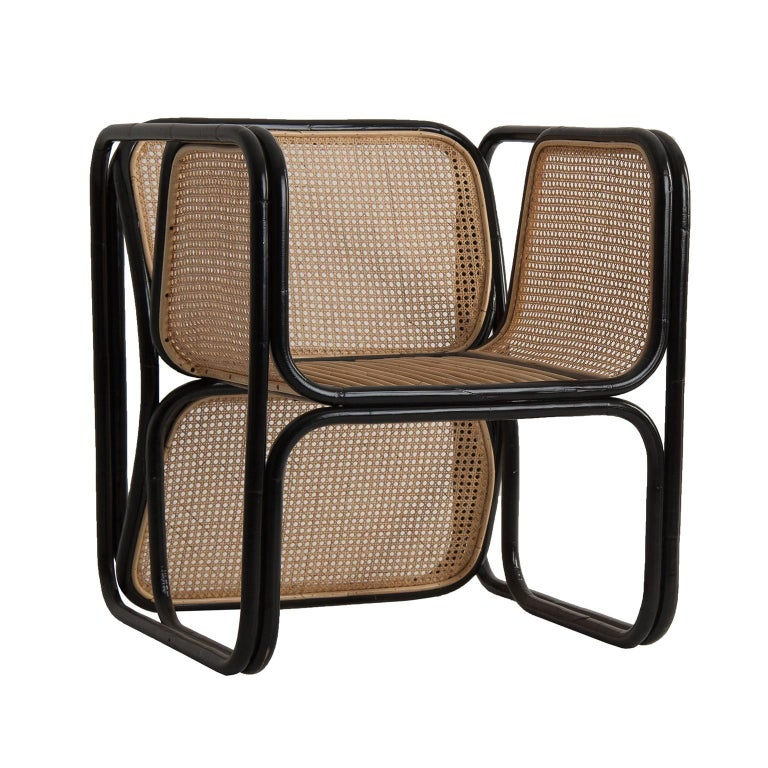 Pair of Rattan and Wicker Design Armchairs Jan Bocan Style For Sale 1