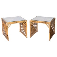 Pair of Rattan and Wicker Glass Topped Side Tables