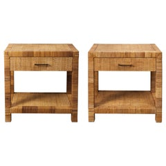 Pair of Rattan and Wicker Nightstand Tables