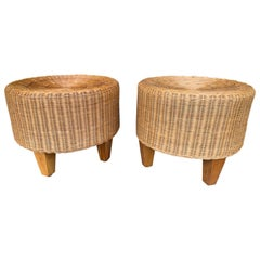 Pair of Rattan and Wood Poufs Stools, Italy, 1980s