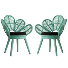 Pair of Rattan and Wooden Azur Lacquered Armchairs