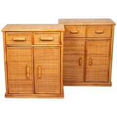 Pair of Rattan and Woven Wicker Two Drawer Cabinets with Interior Shelves