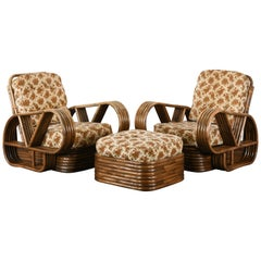 Pair of Rattan Armchairs and Ottoman, 1940s