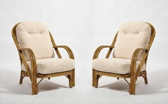 Pair of Rattan Armchairs by Audoux Minnet, France, 1960's