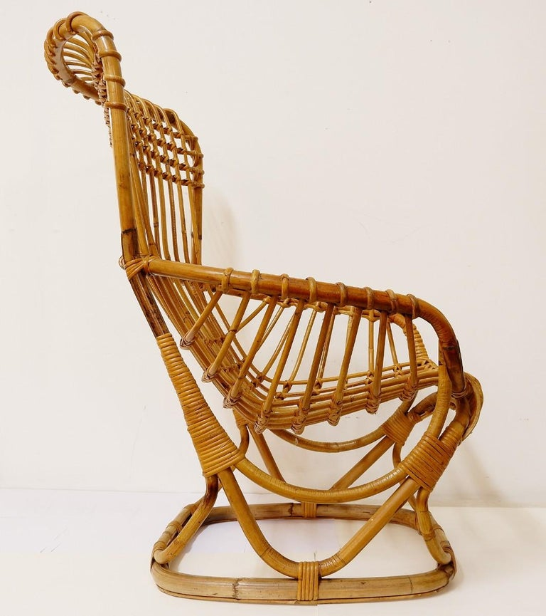 Pair of rattan armchairs.