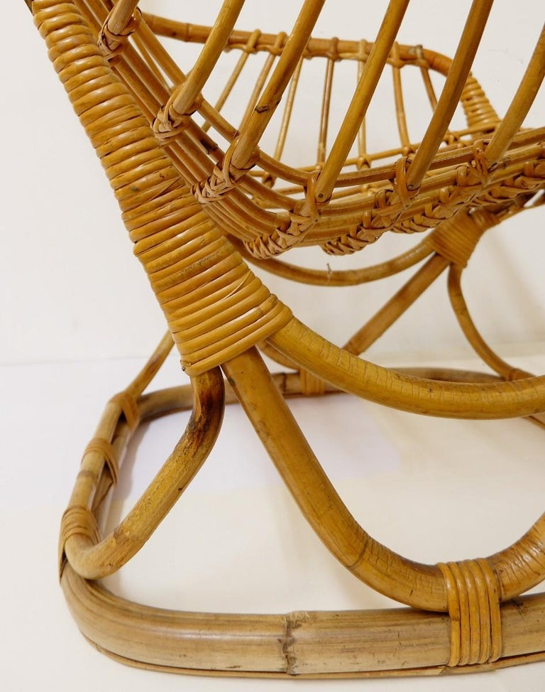 Mid-Century Modern Pair of Rattan Armchairs For Sale