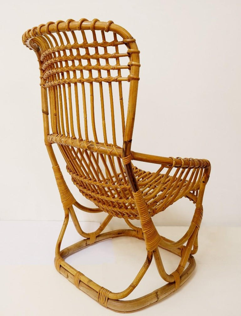 Late 20th Century Pair of Rattan Armchairs For Sale