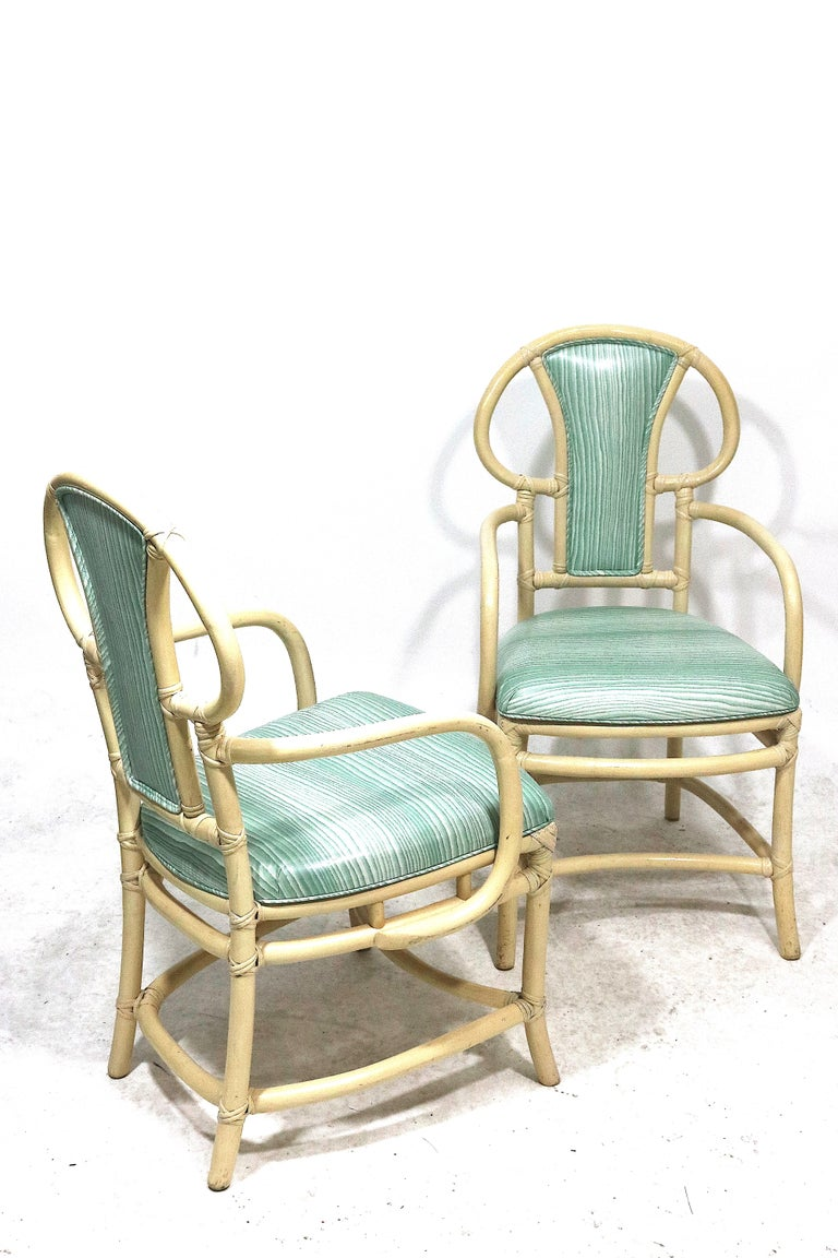 Mid-Century Modern Pair of Rattan Armchairs, Willow and Reed, Midcentury, Brunschwig & Fils Fabric For Sale