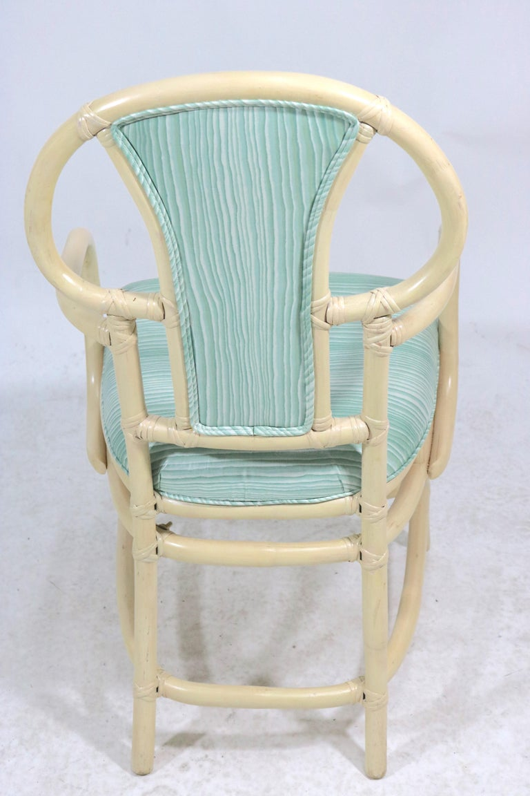 Lacquered Pair of Rattan Armchairs, Willow and Reed, Midcentury, Brunschwig & Fils Fabric For Sale