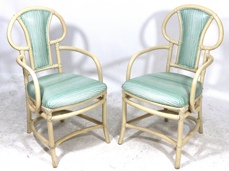 Pair of Rattan Armchairs, Willow and Reed, Midcentury, Brunschwig & Fils Fabric For Sale 1