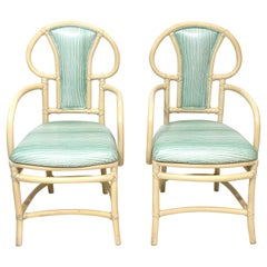 Pair of Rattan Armchairs, Willow and Reed, Midcentury, Brunschwig & Fils Fabric