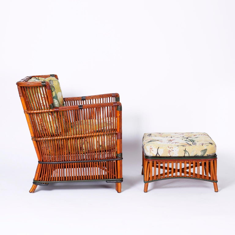 American Pair of Rattan Armchairs with Ottomans For Sale