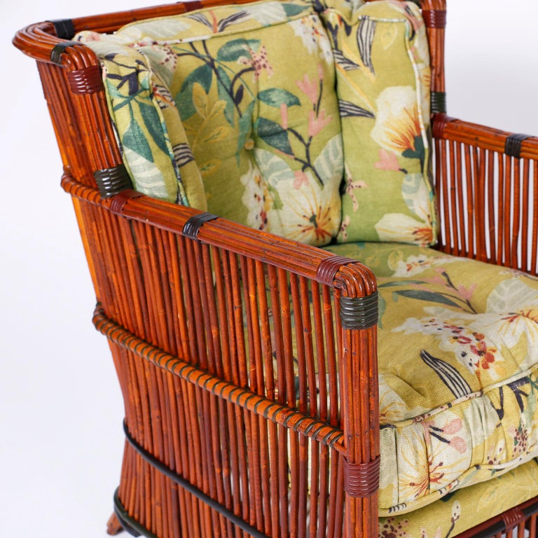 Pair of Rattan Armchairs with Ottomans For Sale 1