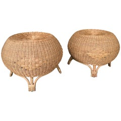 Pair of Rattan Ball Poufs Stools. Italy, 1970s