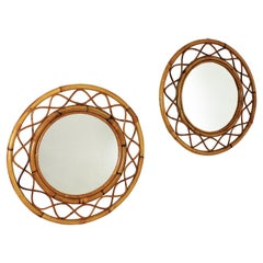 Pair of Rattan Bamboo Round Mirrors, Franco Albini Style