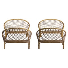 Pair of Rattan Beds, Louis Sognot, circa 1955