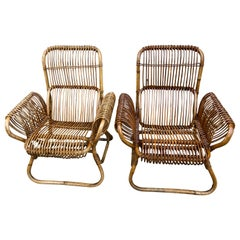 Pair of Rattan Chairs Attributed to Franco Albini