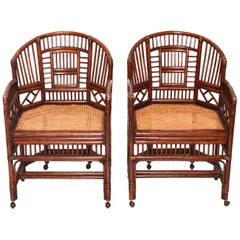 Pair of Rattan Chinoiserie Fretwork Armchairs