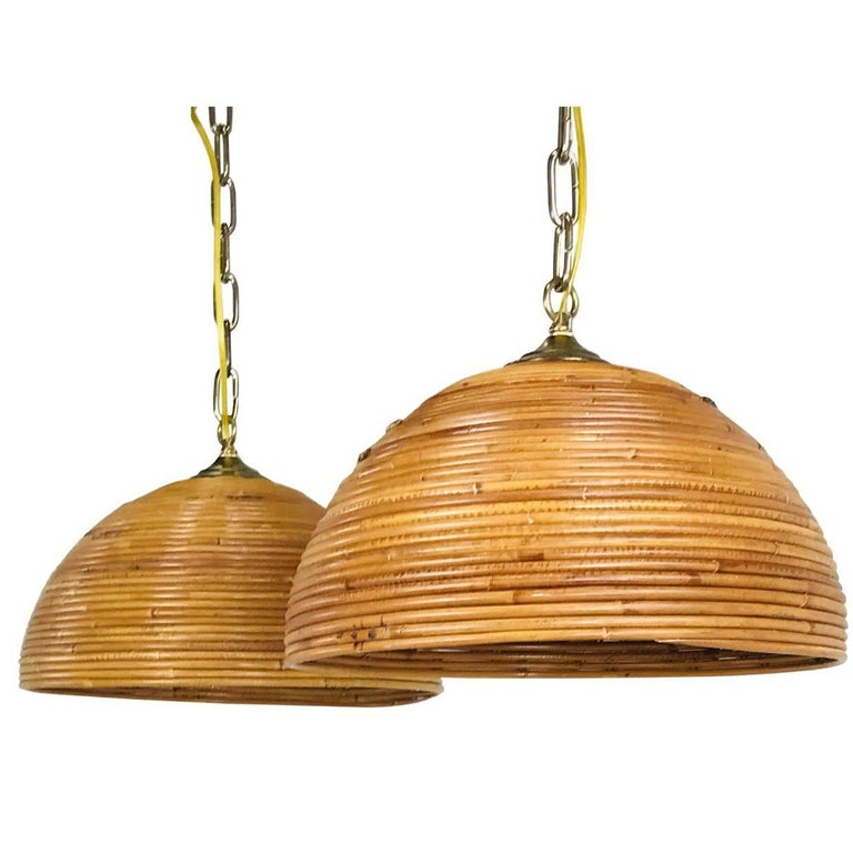 Pair of Rattan Dome Pendants