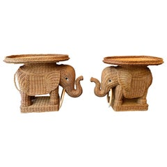 Pair of Rattan Elephant Side Table, France, 1970s