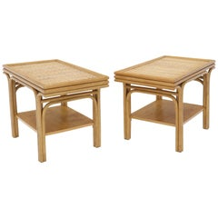 Pair of Rattan Frames Cane Tops Rectangular One Shelve End Side Tables